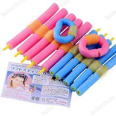 12x Hairstyle Foam Curler Stick Spiral Curls Tool Girls DIY Styling Bendy Roller