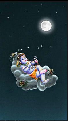 Lord Shiva Bal swaroop sleeping on cloud in creative art painting Lord Shiva Statue, Lord Shiva Pics, Lord Shiva Hd Images, Lord Shiva Family, Shiva Shakti, Shiva Parvati Images, Shiva Hindu, Rudra Shiva, Hindu Art