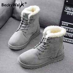 Women Boots Warm Winter Boots Female Fashion Women Shoes Faux Suede Ankle Boots - Winter Boots - Ideas of Winter Boots - Women Boots Warm Winter Boots Female Fashion Women Shoes Faux Suede Ankle Boots For Women Botas Mujer Plush Insole Snow Boots Ankle Snow Boots, Snow Boots Women, Suede Ankle Boots, Winter Shoes For Women, Cute Winter Boots, Warm Boots, Winter Wear, Womens Fall Shoes, Cute Boots For Women