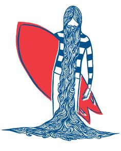 Surfing Art Print Blue Beard by BrineAndByway on Etsy