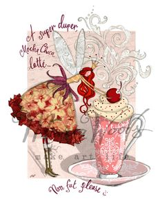 "Quirky fairy ""super duper latte"" fine-art print from Maria Woods' Girls' Guide and Sparkle ranges."