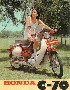 Honda C Christine Hakim Honda Cub, Motos Honda, Honda Bikes, Honda Cb750, Classic Honda Motorcycles, Vintage Motorcycles, Classic Motorcycle, Classic Motors, Classic Bikes