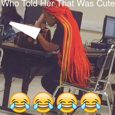 is her weave on fire??!! somebody get a fire extinguisher, her hair is on fire- oh wait nah. it's just the color of her weave.