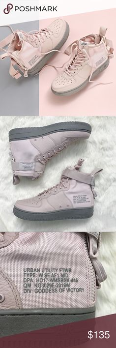 "Nike Blush Pink SF AF1 Mid Sneakers •The Nike SF Air Force 1 Mid Women's Boot delivers covert military utility in a classic hoops silhouette. It's made with ballistic nylon, premium leather and a dual-zipper heel for easy entry. Color is ""Silt Red""  •Women's size 7.5, true to size.  •New in box, no lid.  •No trades, no holds. Nike Shoes Sneakers"