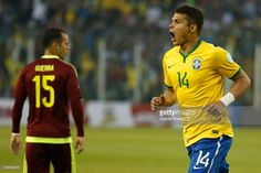 Thiago Silva of Brazil celebrates after scoring the opening goal during the 2015 Copa America Chile Group C match between Brazil and Venezuela at Monumental David Arellano Stadium on June 21, 2015 in Santiago, Chile.