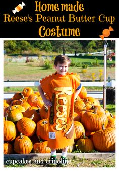 Homemade Halloween Costume Reese's Peanut Butter Cup #Halloween #Costume from cupcakesandcrinoline.com