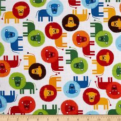 Urban Zoologie Lions Primary from @fabricdotcom  Designed by Ann Kelle for Robert Kaufman Fabrics, this fabric is perfect for quilting, apparel and home décor accents. Colors include yellow, lime, brown, blue, aqua, orange, red and white.