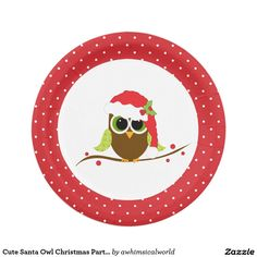 Cute Santa Owl Christmas Party Paper Plates are fun for a kids party or anyone who loves owls!
