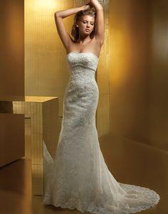 Alluring Strapless Beading Empire Mermaid Lace Satin Chapel Train Bridal Attire
