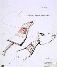 Drinking/eating aid (Drawing) by Loewy, Raymond Fernand, January 1968 to December 1968 (Made). Concept design for a NASA Stateroom in a space station. Rendezvous With Rama, Raymond Loewy, Global Design, Photo Art, Design Art, Drinking, Concept, Product Design, Nasa