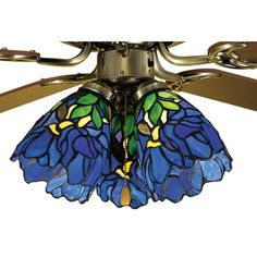 Lend an artistic appeal to your ceiling fan with the Meyda Tiffany Iris Glass Bell Ceiling Fan Fitter Shade. This fan light shade has a floral pattern inspired by blue iris flowers. It is a captivating addition to a Tiffany style room decor. Tiffany Stained Glass, Stained Glass Lamps, Tiffany Glass, Fused Glass, Tiffany Ceiling Fan, Blue Iris Flowers, Purple Iris, Decorative Ceiling Lights, Rectangular Lamp Shades