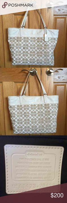 "Large Signature Print Coach Tote Large signature print Coach tote in a classic white and tan. I purchased it from the Coach store at the Mall of America. It's in excellent condition and super clean. Approx size is 18.5""L x 5""W x 12""H Coach Bags Totes"