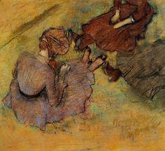 Edgar Degas, Women Seated on the Grass, 1882 on ArtStack #edgar-degas #art