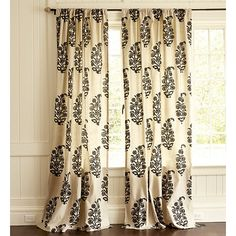 Concorde Medallion Curtain Panel - linen colored fabric with large scale black paisley (other colors available), $79.00 - $99.00
