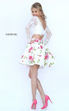 Floral Sherri Hill Lace Two Piece White Party Dress 50464