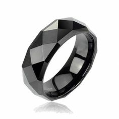 Black IP Tungsten Faceted Band Ring - Black Ring - Ideas of Black Ring. Trending Black Ring for sales - 0 The post Black IP Tungsten Faceted Band Ring appeared first on Awesome Jewelry. White Gold Wedding Rings, Wedding Rings For Women, Wedding Ring Bands, Rings For Men, Wedding Sets, Tungsten Mens Rings, Tungsten Carbide, Dad Rings, Women's Rings