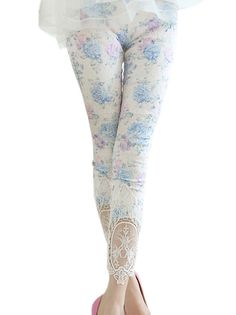 Fabulous Floral Printed Slim High Elastic Skinny Patchwork Lace Pants For Women on buytrends.com