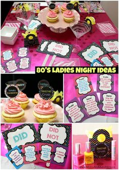 80's Ladies Night Ideas with a printable party set