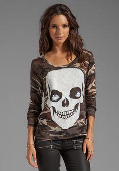 LAUREN MOSHI Margaret Skull Face Long Sleeve Sweater in Camo at Revolve Clothing