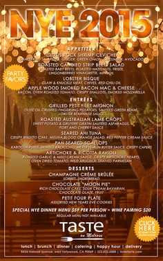 check out our amazing New Years Eve dinner menu!