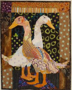 Runner Ducks Look Left and Right - Ruth B. McDowell - 2012 One of my favourites -- for the neutral background and borders and the floral but contrasting geese! Bird Applique, Applique Quilts, Small Quilts, Mini Quilts, Textiles, Quilting Projects, Quilting Designs, Vogel Quilt, Quilt Inspiration