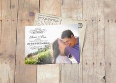 Invitación de boda en forma de postal. Imagen principal