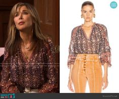 Calista Top by Ulla Johnson worn by Kate Roberts (Lauren Koslow) on Days of our Lives