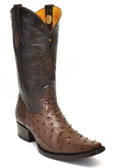 5aa170b9e54 Gavel Handcrafted Spanish Toe Collection Full Quill Ostrich Boots-Tobacco.  Gavel Western Wear