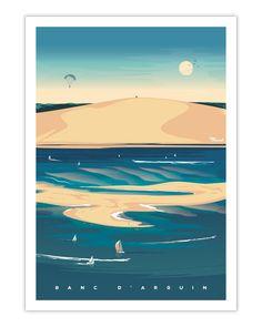 Direction l'Aquitaine à la découverte du magnifique bassin d'Arcachon avec cette impression sur papier couché finition Mat. Cette affiche offre une superbe vue sur la dune du Pilat et laisse imaginer toute la beauté de cette jolie région de France. Arborant un style rétro et vintage, cette illustration originale est l'élément de décoration qu'il vous faut. 19€ - 30x40 cm 29€ - 50x70 cm Art Deco Posters, Vintage Posters, Surf House, Old Commercials, Wreath Drawing, Poster Drawing, The Dunes, Mans World, Marcel