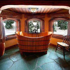 Log home bath......I love this.