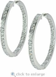 Ziamond Cubic Zirconia Inside Out Pave Set Hoop Earrings in 14K White Gold.  The Odellia Inside Out Pave CZ Hoop Earrings measure approximately 33mm in diameter and include 2 carats in total carat weight. #ziamond #cubic zirconia #hoops #earrings #pave #14k gold