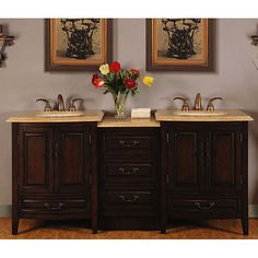 Silkroad Exclusive 72 Inch Stone (Grey) Counter Top Bathroom Vanity  Lavatory Double Sink