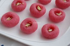 Easy Janmashtami Mithai Recipe - Strawberry Coconut Peda - NO MAWA OR CONDENSED MILK USED! Make this quick and easy mithai for Lord Krishna's pooja prasad!   Click here to view the video recipe    https://youtu.be/mmyk41ns3CU  Click here for written recipe    http://magicofindianrasoi.com/strawberry-coconut-peda-easy-mithai-recipe/  #Janmashthami #peda #mithai #prasad #coconut