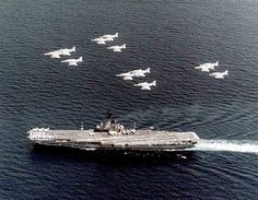Skyhawks of Carrier Air Wing (CVW) 21 fly over USS Hancock (CVA in western Pacific, circa Anniversary Photos, 60th Anniversary, Uss Hancock, Olongapo, Jet Engine, United States Navy, Aircraft Carrier, Battleship, Us Navy