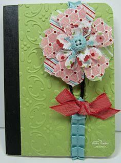 Small composition books - flower ribbon is bookmark.  Cute idea for teachers or office workers.
