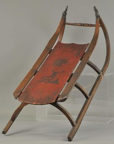 LOT #2095 - DECORATED CHILD'S WOOD SLED