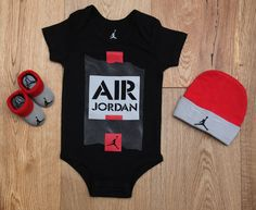 Air Jordan Baby Boy 3 Piece Hat, Bodysuit & Booties Set~Black, Gray & Orange Red #Jordan #BabyBoy #Jumpman