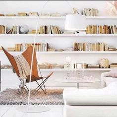 modern furniture with paperback books.