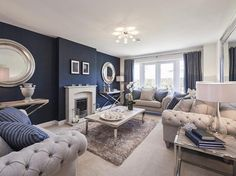 Check out this property for sale on Rightmove! Spacious lounge with bi-fold doors Blue And Cream Living Room, Beige Living Rooms, Blue Living Room Decor, Living Room Color Schemes, Elegant Living Room, New Living Room, Formal Living Rooms, Living Room Designs, Lounge Colour Schemes