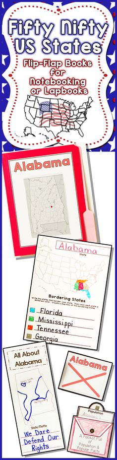 Fifty US States Flip-Flap Books for Notebooking or Lapbooks - 172 Pages Check out the Preview!$