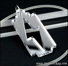 razor blade jewelry | Mirror Lighting Bolt Razor Blade Lasercut Acrylic Necklace