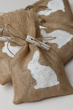 Burlap Gift Bags or Treat Bags Easter Birthday by FourRDesigns