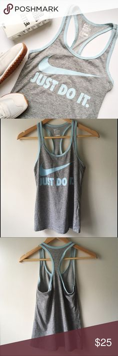 Nike Dri-Fit 'Just Do It' Tank Super cute Nike tank, perfect for workout and post workout coffee runs and lunches. Nike dri-fit technology. In excellent condition!    Trades/️️ ✨ 100% Authentic  Offers Welcome  Bundle Discount  Ships in 1-2 Days Nike Tops Tank Tops