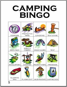 Fifth card in a series of 12 camping themed BINGO cards…
