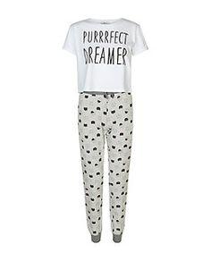 "Pyjama ado gris à imprimé "" Purrrfect Dreamer "" | New Look"