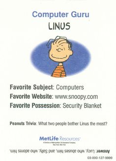 Peanuts MetLife All Star Cards - Linus