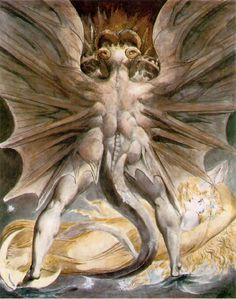 """William Blake was not only a poet but an artist as well. Here is a watercolor of his called """"The Great Red Dragon and the Woman Clothed in Sun"""", depicting a scene from Revelations -- among the things foretold in the book of Revelations is the coming of many beasts made of components from disparate creatures."""