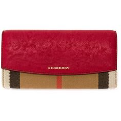 Burberry House Check Wallet (€450) ❤ liked on Polyvore featuring bags, wallets, brown, burberry, red leather bag, leather snap wallet, burberry bags ve real leather wallet