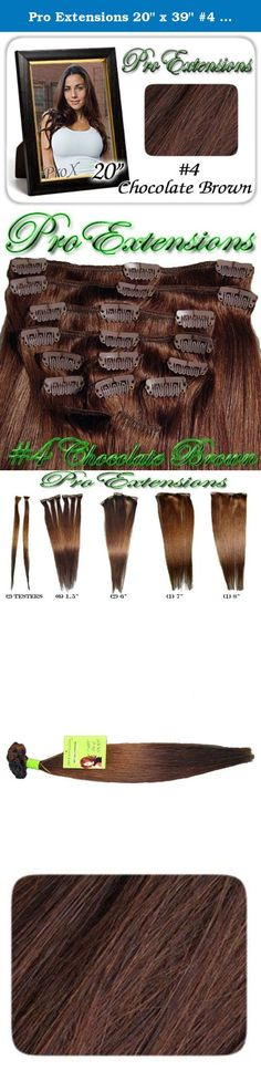 "Pro Extensions 20"" x 39"" #4 Chocolate Brown 100% Clip on in Human Hair Extensions. Pro Extensions are 100% human hair extensions. Increase hair length and fullness with this health and beauty accessory. Beautiful hair in seconds with these 100% clip-on human hair salon style wefts. Raquel Welch and Jessica Simpson inspired hairdo extensions. At last, women can have the hair styles of super stars and super models without spending hours at high priced hair specialists. Whether you need to…"