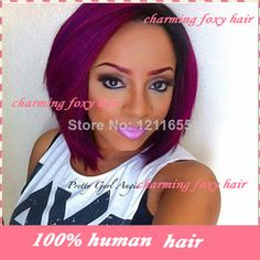 Online Shop 2014Popular two tone #1bT/# purple bob cut style glueless malaysian full lace wigs ombre front/full lace wigs for black women|Aliexpress Mobile